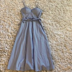 Tea length new with belt blue and white dress